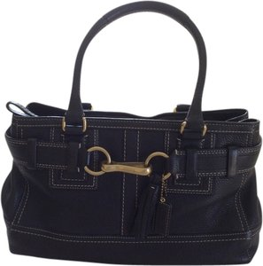 Coach Tote in Black with white stitching