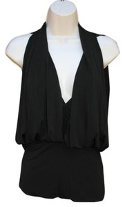 BCBGMAXAZRIA Jersey V-neck Sexy Top Black