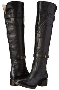 FreeBird By Steven Quebec Leather Distressed Over The Knee Black Boots