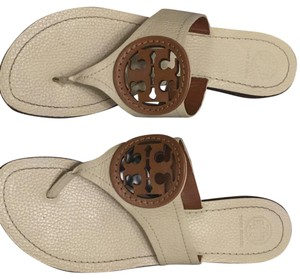 Tory Burch Beige and brown logo Sandals