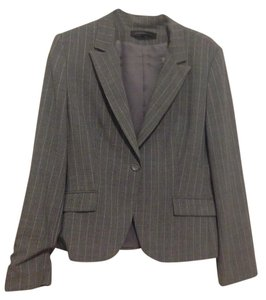 Express Express Design Studio Gray Suit with Metallic Shining Vertical Stripes