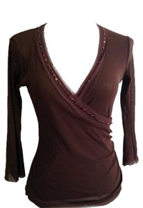 Weston Wear 3/4 Sleeve Nylon Mesh Top Brown