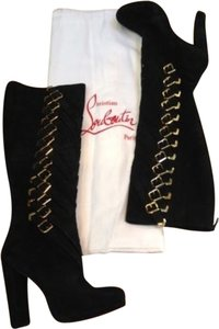 Christian Louboutin Gold Buckles Sexy Statement Red Bottoms Black Boots