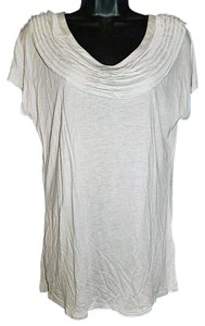 Gap Gray Ruffle Neck Cap Sleeve Medium Knit T Shirt Pale Gray
