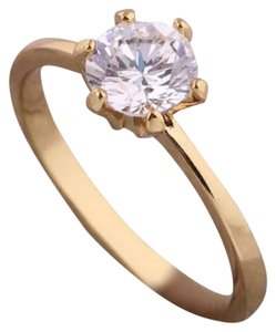 Other New 18K Yellow GF White Sapphire Solitaire Ring