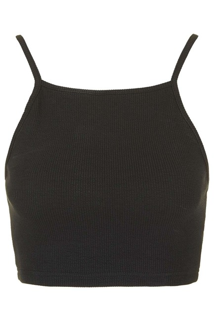 Item - Black Ribbed Crop Halter Top Size 8 (M)