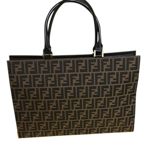 Fendi Iconic Double F Tote in ZUCCA Logo Sand/Chocolate Brown/Brown Leather
