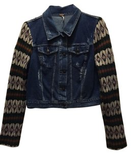 Free People Jean Blue Denim/Geometric Jacket