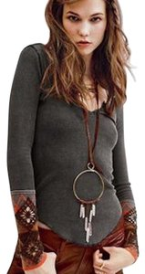 Free People Henley Thermal Cuff Embroidered Layers Sweater