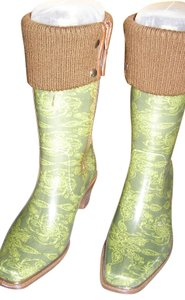 dv Rubber Boot Thigh High Sketch Lace-Army Green Boots