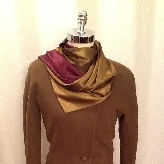Couture Vintage Anne Klein Top Olive Green And Burgundy Luster