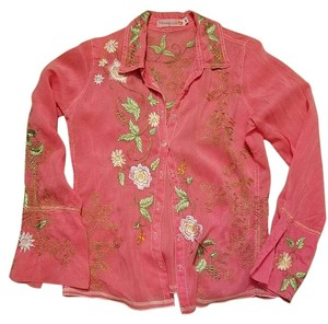 Johnny Was Embroiderery Top Pink