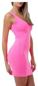 PINK short dress Pink and lime green on Tradesy