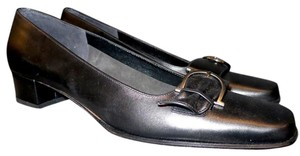 Salvatore Ferragamo Leather Silver Hardware Black Flats