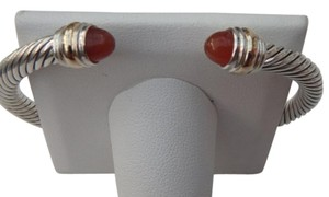 David Yurman Large size !! 5 mm cable Cuff Carnelian Bracelet 14KYG & SS