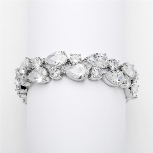 Pear Shaped Cz Bridal Statement Bracelet In Silver Rhodium Aaa-quality Cubic Zirconia