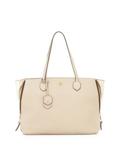 Tory Burch Side-zip Pebbled Leather Key Ring Hardware Tote in Beige/Champagne Gold