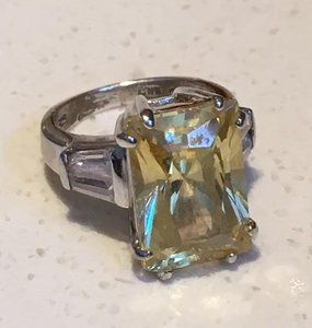 Facedted Citrine CZ Sterling Silver Ring