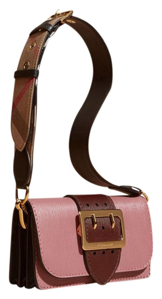 ce2226dd0994 Burberry Small Buckle Saffiano Dusty Pink Burgundy Leather Shoulder ...