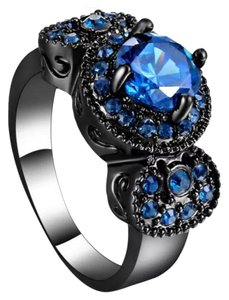New Lab Created Blue Sapphire 10k Black GF Ring