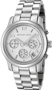 Michael Kors Silver Midsized Chronograph Ladies Watch BRAND NEW mk5076