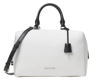 Michael Kors Kirby Large / Leather Satchel in White / Black