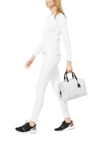 Michael Kors Kirby / Leather Satchel in White / Black