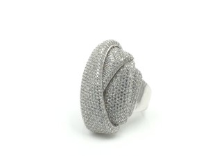 .925 RHODIUM PLATED STERLING SILVER CUBIC ZIRCONIA COCKTAIL RING