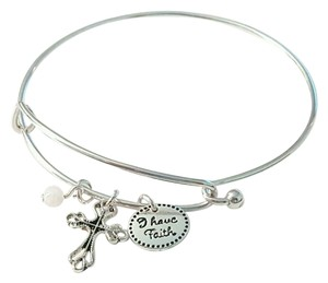 Avon NEW Precious Charms Inspirational Faith Silver Wire Bangle Bracelet