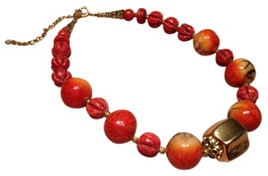 Marilyn Rae Cohen Vintage 1980's Apple & Red Coral w Gold Beads