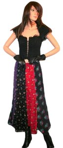 Anna Sui Maxi Skirt Black, Red, Purple
