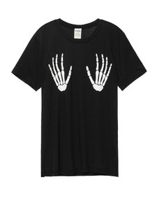 Victoria's Secret Skeleton Glow In The Dark Halloween Pink T Shirt black
