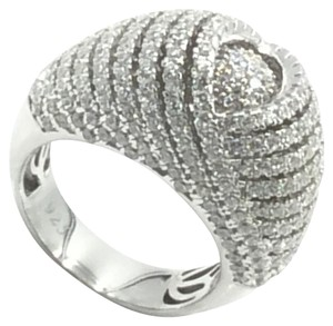 .925 Rhodium Plated Sterling Silver Cubic Zirconia Coctail Ring