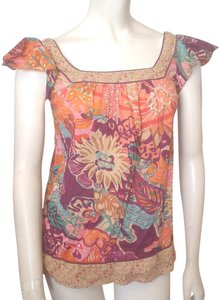 Xhilaration Cap Sleeve Multi-color Floral Top Teal Magenta Orange Red