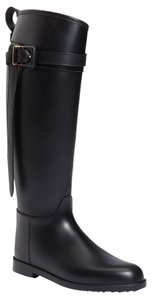 Burberry Rubber Equestrian Style Pull-on Style Adjustable Buckle Made In Italy Black Boots
