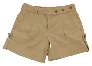 Vince Pleated Belted Cargo Cuffed Shorts Khaki