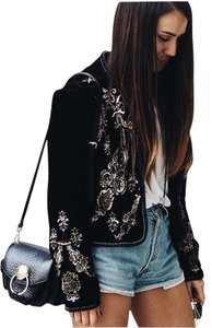 Zara Embroidered Black Jacket