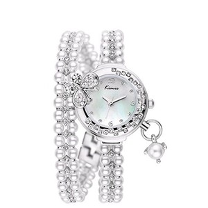 Ladies Luxary Style Fashion Bracelet Wristwatch Ladies Classic Elegant Style Fashion Wristwatch, Charming Bangle Bracelet Watch White Silver Plated Beads, Floating Pearl with 3D Crystal Butterfly on Face