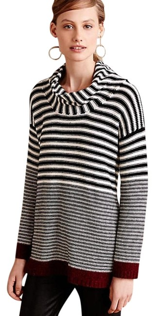 Anthropologie Echo Stripe Cowlneck Field Flower Wendi Reed Xsp Black Sweater Tradesy