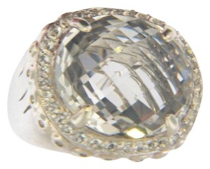John Hardy size 7 - 7.5, sterling silver, 6.00 TCW white topaz, statement ring
