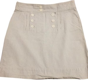 Old Navy Mini Skirt White with grey stripes