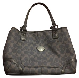 Coach Satchel in Light Blue And Grey