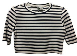 H&M Top Navy blue/white