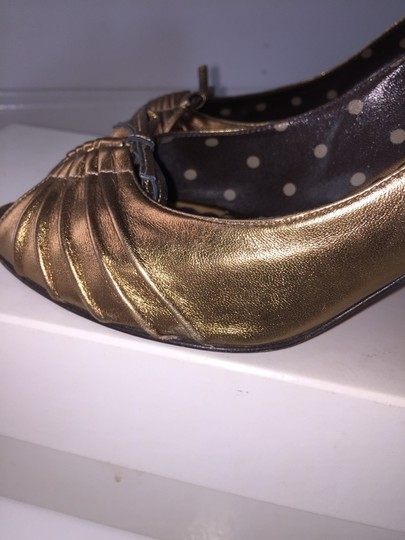 Moschino Bronze Metallic Pumps