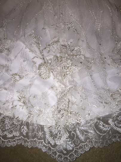 Maggie Sottero Ivory/ Pewter Accent Tamsyn Formal Wedding Dress Size 8 (M)