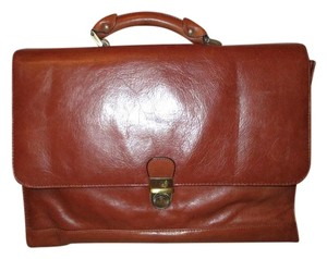 Avenues America Leather Locking Briefcase British tan Messenger Bag