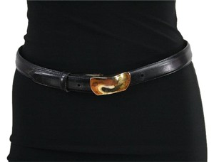 Robert Lee Morris RLM Black Calfskin Leather Sterling Silver Buckle Belt