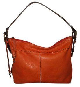 Fossil Leather Studded Hobo Shoulder Bag