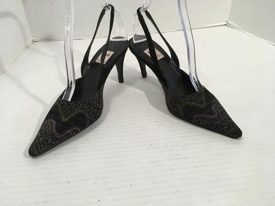 Ramon Tenza Fabric Black suede leather beads and jewels slingback Pumps