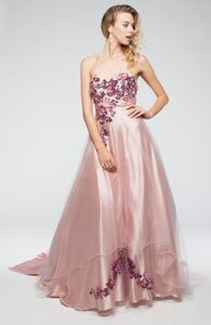 Strapless Floral Pattern Satin And Mesh Ball Gown Wedding Dress